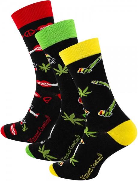 3 Paar Lustige -Rasta Weed- Socken - One Size