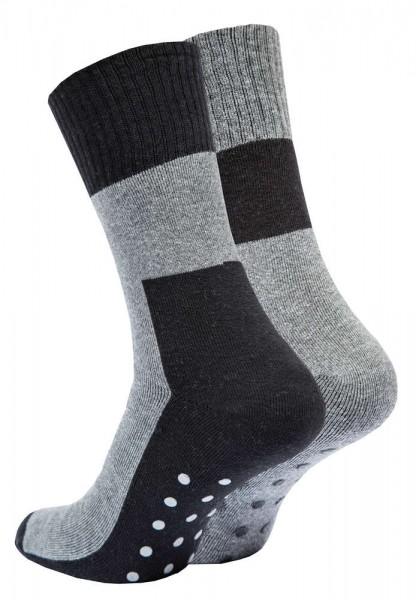 4 Paar ABS Socken Vollplüsch, Bi-Color Schwarz/Grau