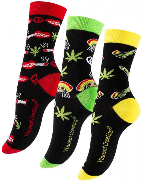 "3 pairs of colorful ""Rasta Weed"" socks - one size"