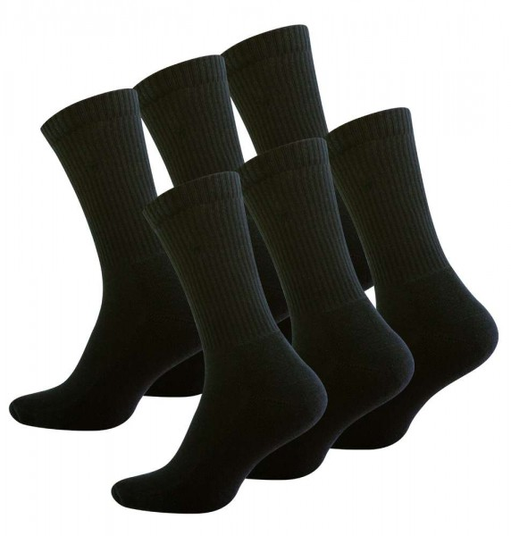 6 Pair of Men Black Socks, Half-Cushion Crew Socks