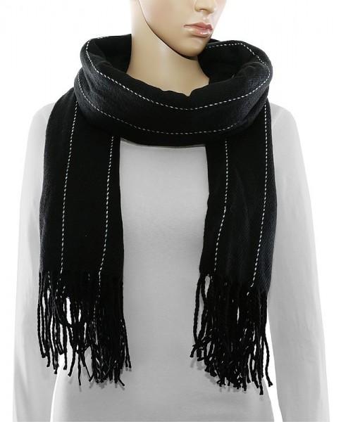 Schal mit eingewebtem Streifen-Muster und Fransen