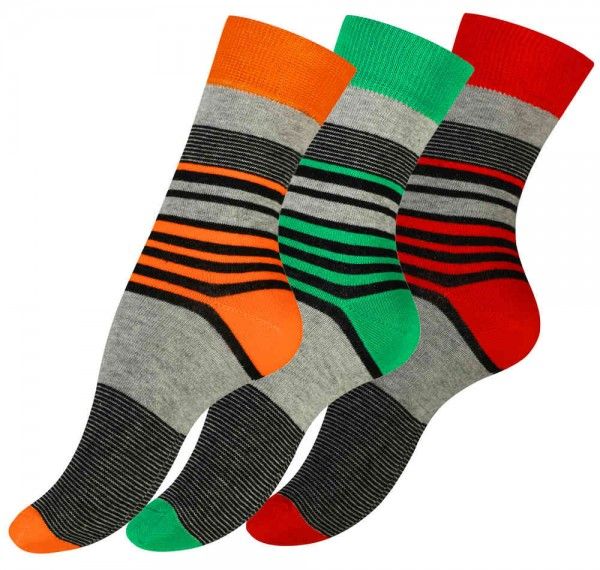 3 Pairs of LADIES Cotton Socks, Candy Strips