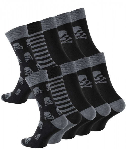 10 Pairs of Cotton Socks with Skull-Design