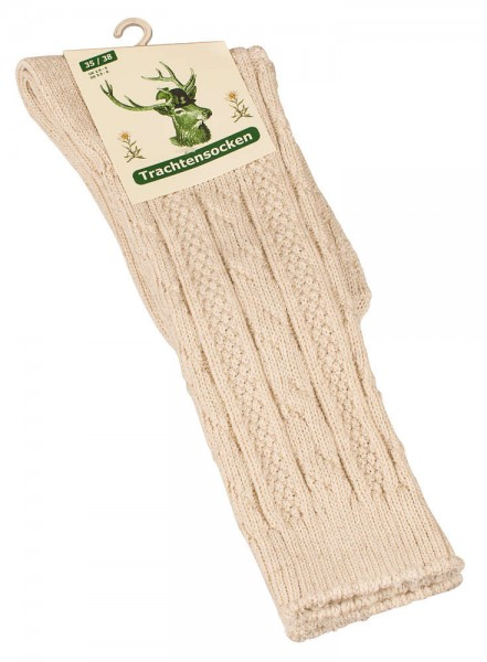 grabs socks, nature color, cloth-cottonmix with cable stitch