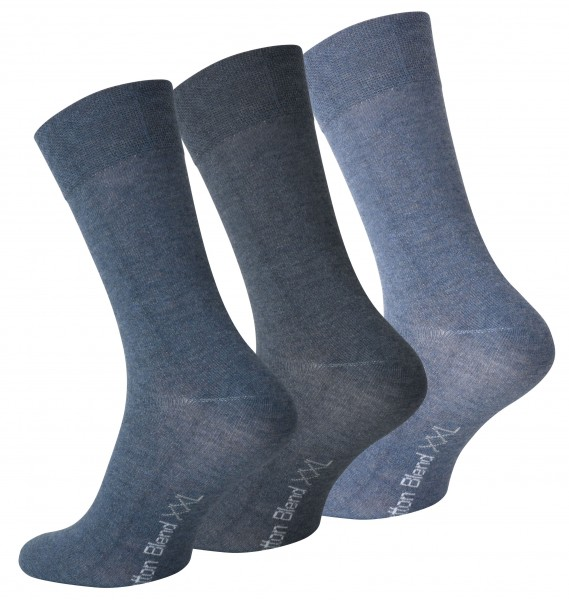 3 Pairs Mens Cotton Socks Big Foot, Assorted Blue colors, Size 12-14