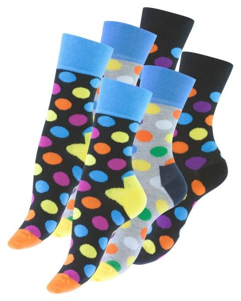 6 Pairs of Ladies socks, Funky Multi-color, DOT