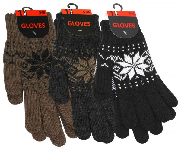 Gloves Unisex, patterned with icecrystal