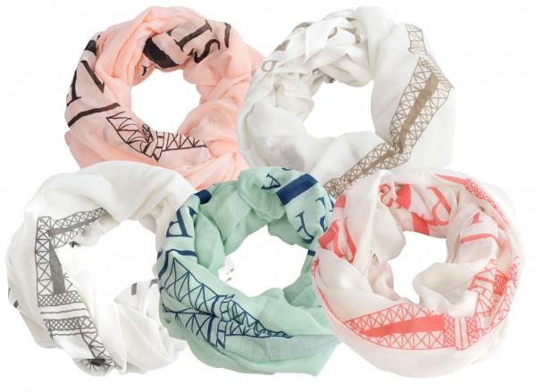 ladies spring/summer scarves, PARIS patterned