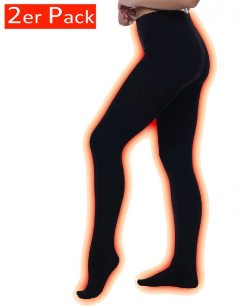 2 Pack Ladies THERMO Tights with fleece inside