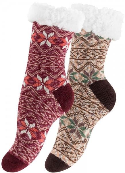 Ladies Warm Thick Fairisle Knit Slipper Sock