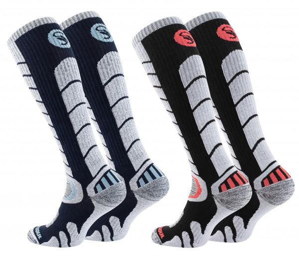 2 Paar Ski & Snowboard Socken mit Spezialpolsterung